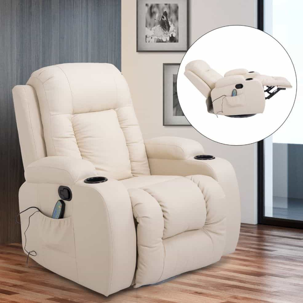 HOMCOM Deluxe Faux Leather Massage Reclining Chair